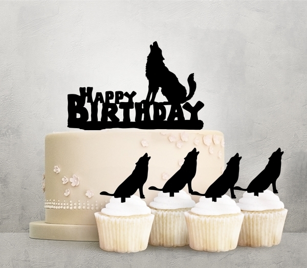 Desciption Happy Birthday Wolf Howling Cupcake