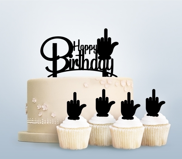 Desciption Funny Happy Birthday Middle Finger Cupcake