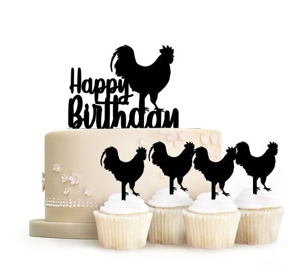 Topper Happy Birthday Rooster
