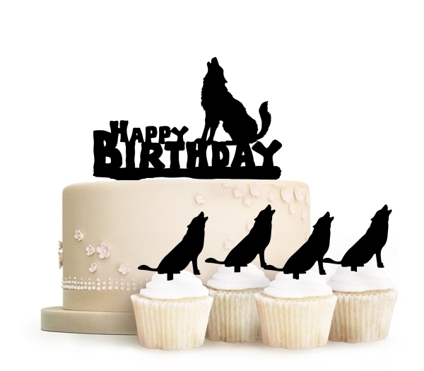 Topper Happy Birthday Wolf Howling